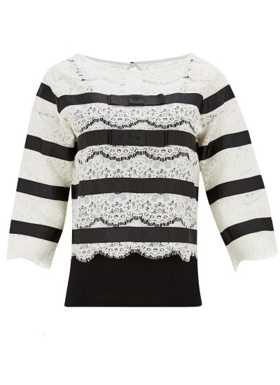 Black and White Striped Lace Blouse