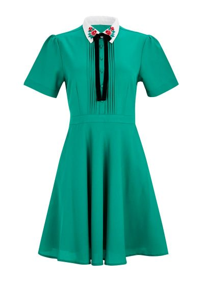 Green Patterned Collar Dress