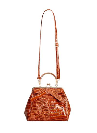 Brown mock croc bag with bow