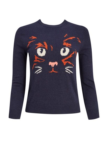 Cat print knitted jumper