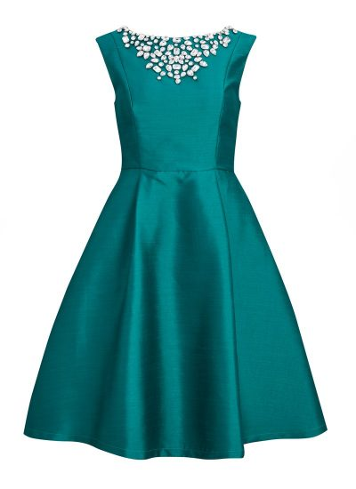 Teal occasion dress with embellishment