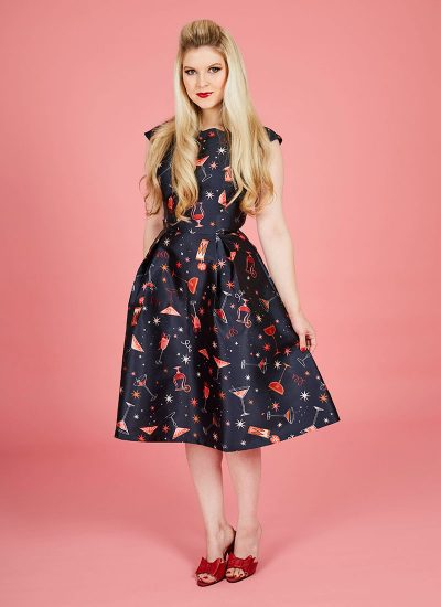 Navy cocktail print occasion dress