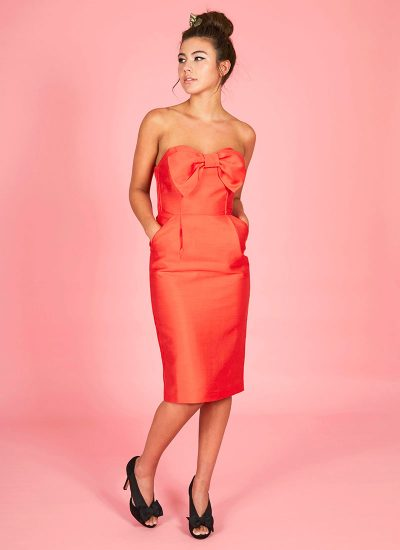 red occasion dress with big bow detail