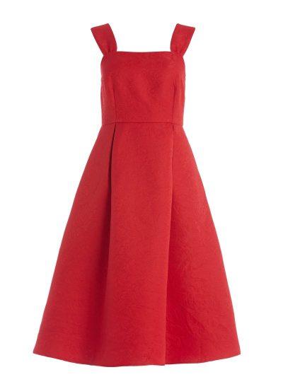 Dita Red Jacquard Dress
