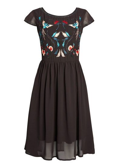 Black chiffon dress with embroidery and embellishment