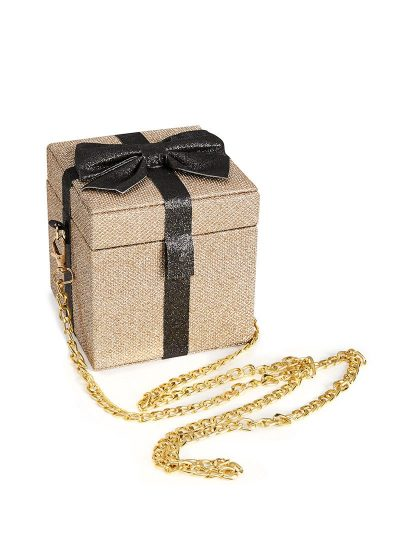 Glitter box bag with bow and chain strap
