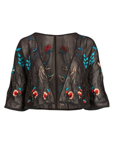 Black embroidered and embellished capelet