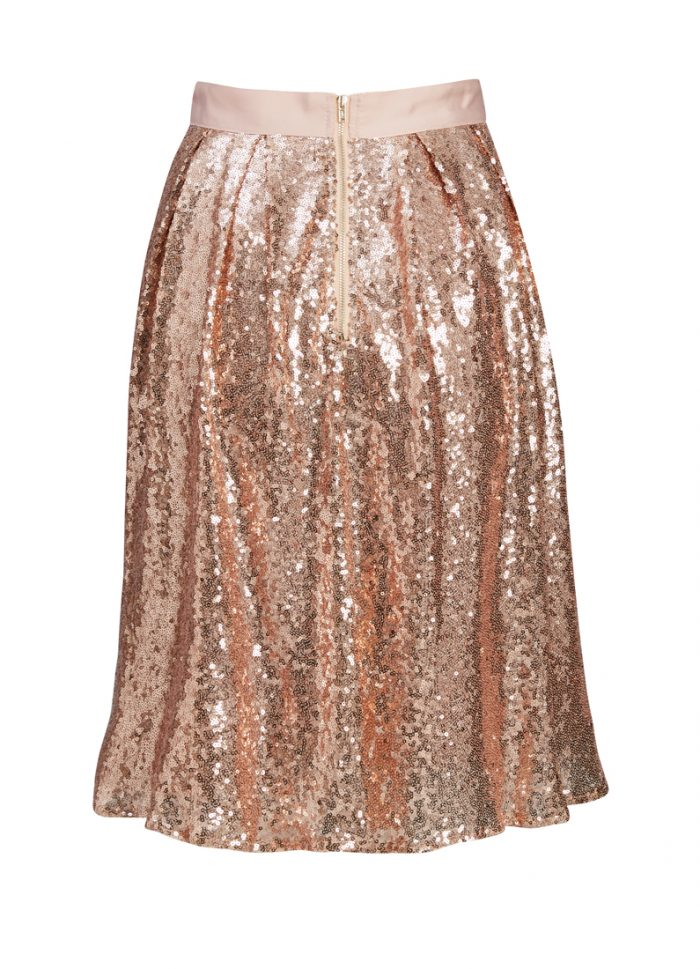 Iris Rose Gold Sequin Skirt | Festive Party Wear | Joanie Clothing