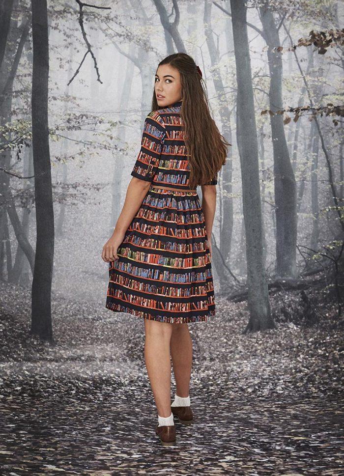 Martha Library Book Print Dress