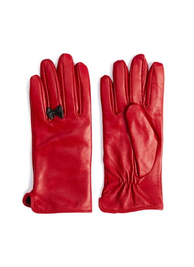 Red leather gloves with black bow