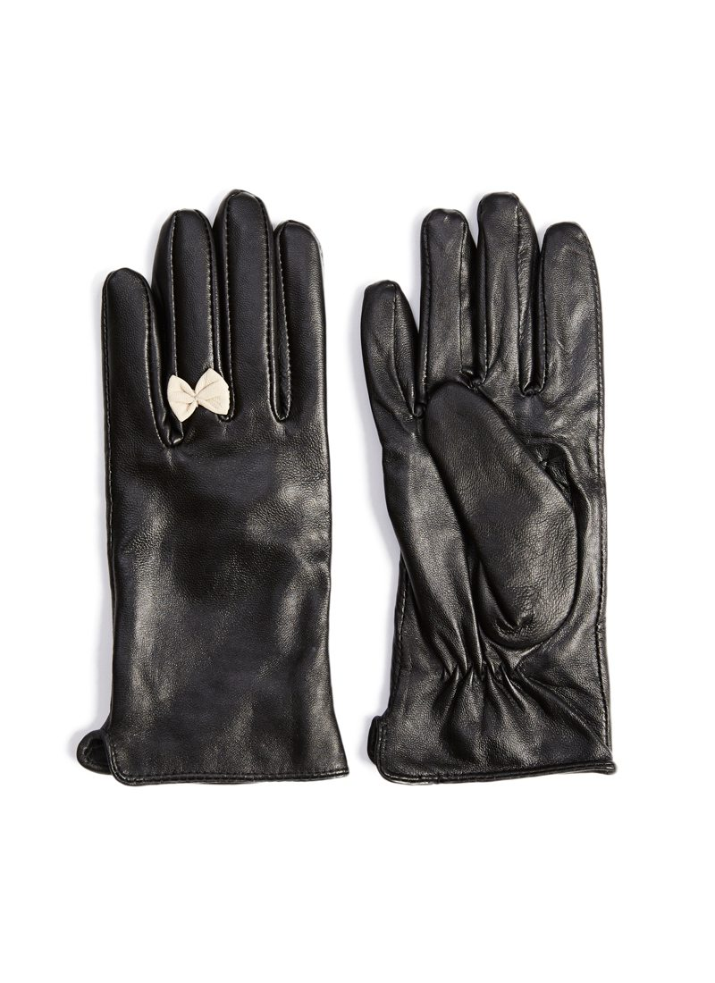 Black gloves with bow - Black Leather Gloves With White Bow