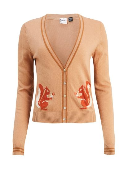 Brown knitted cardigan with squirrel intarsia