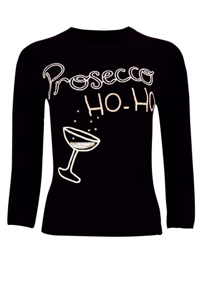 Black jumper with prosecco