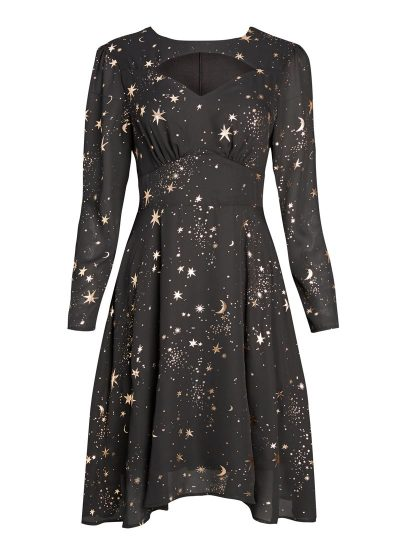 Black star print long sleeve dress