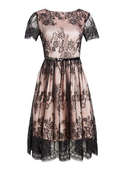 Black and pink lace occasion dress with black bow belt