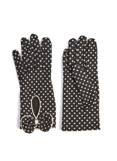 Black gloves with white polka dots and bow detail