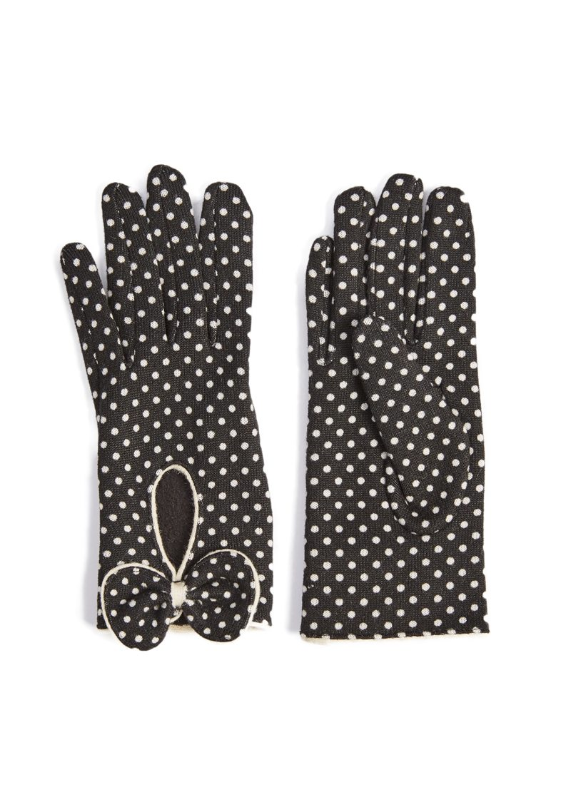 Black gloves with bow - Black Gloves With White Polka Dots And Bow Detail