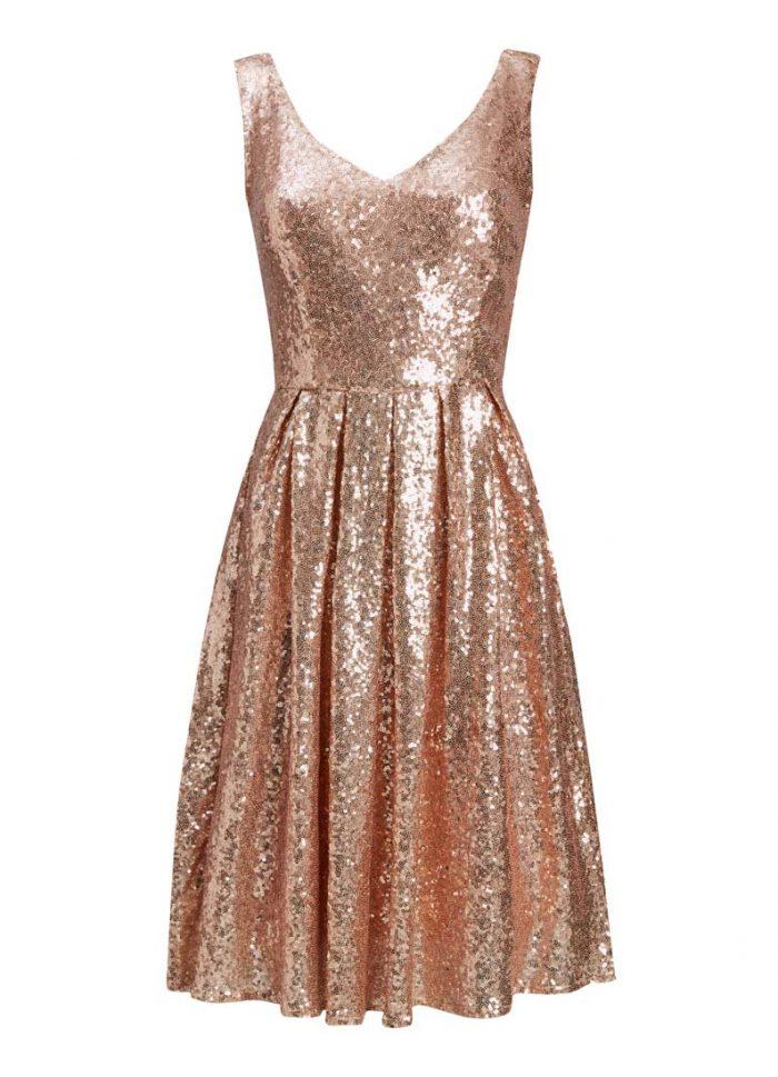 Uma Rose Gold Sequin Dress