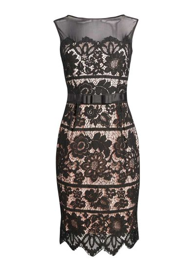 Black and pink lace dress with black satin bow belt