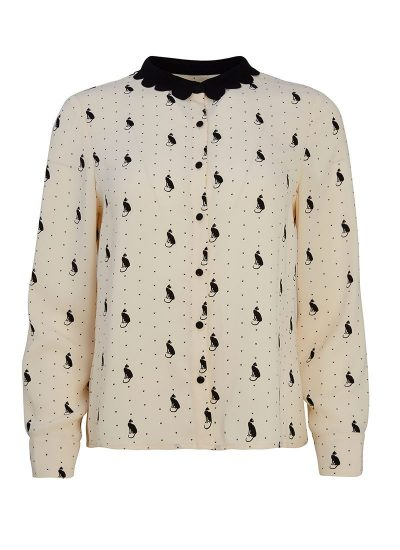 Cat Print Blouse Front