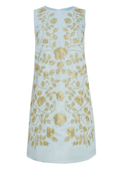 Pale Blue Embroidered Shift Dress