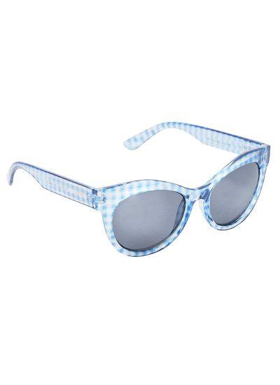 Blue Gingham Check Sunglasses