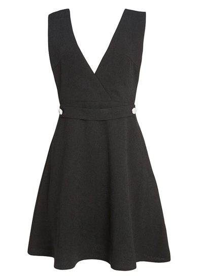 A Line Black Pinafore Dress