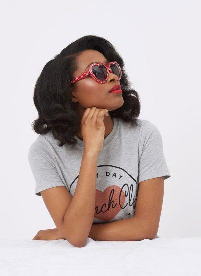 Polka Dot Heart Frame Sunglasses