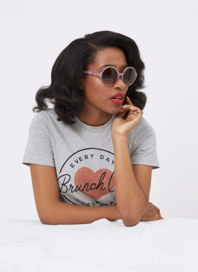 Marble Effect Pink Round Frame Sunglasses