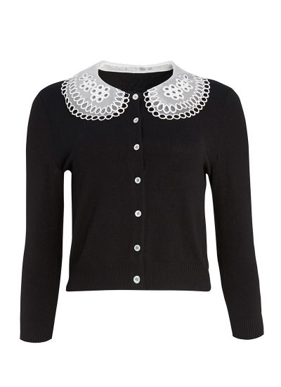 Black cardigan with detailed frilled collar