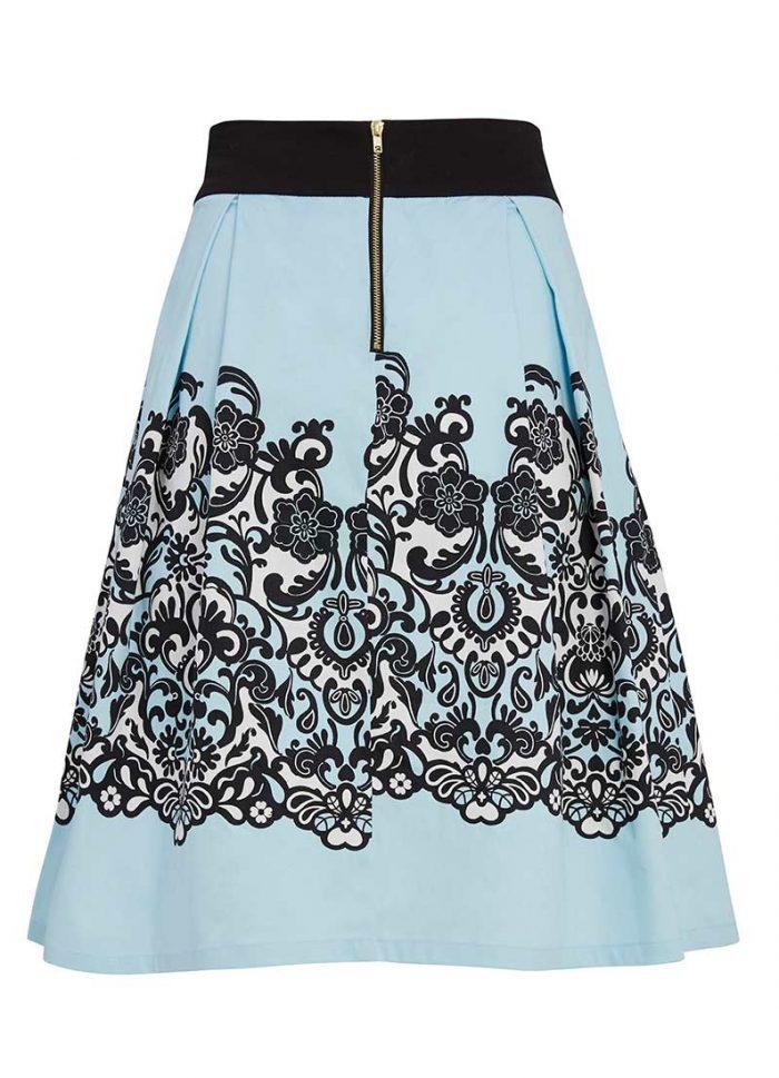 Ava Lace Border Print Full Skirt