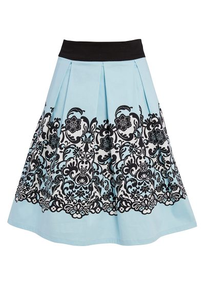 Blue skirt with black and white border print