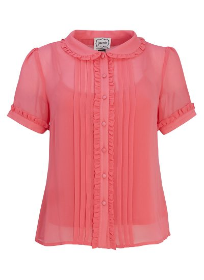 Pink shirt with peter pan collar and frills