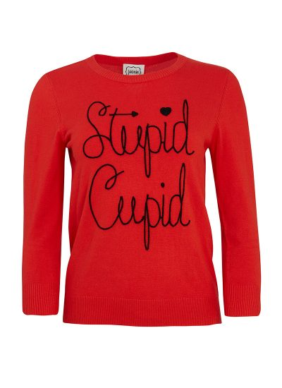 Red 'stupid cupid' slogan jumper