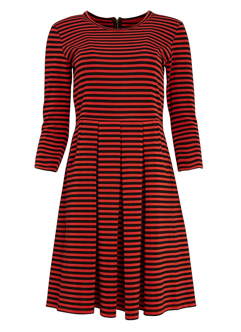 Denis Red and Black Stripe Dress | Fit and Flare Shape | Joanie ...