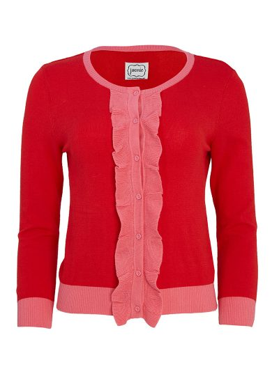 red cardigan with pink frills