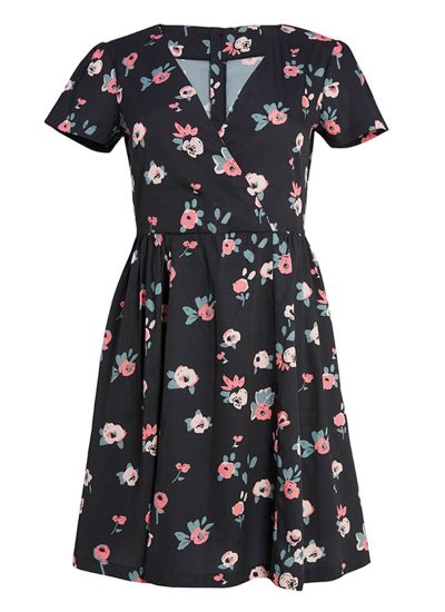 Black V-neck dress with pink florals
