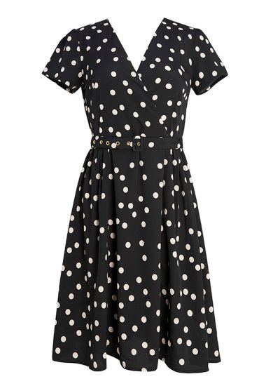 Black V-neck dress with white polka dots and belt