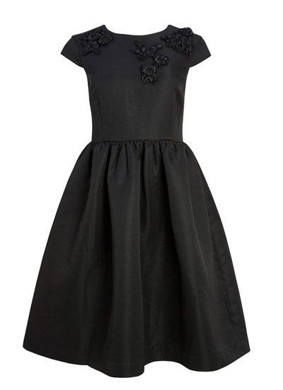 Black dress with applique flowers