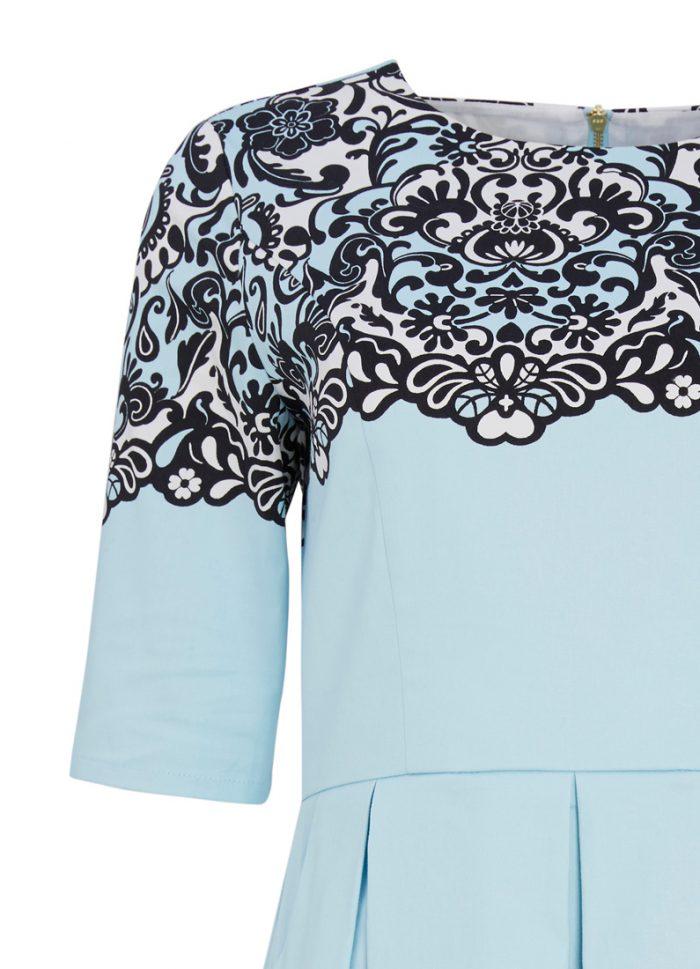 Lacey Lace Border Print Swing Dress
