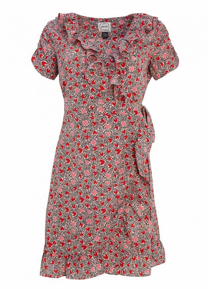 Laura Ditsy Heart Frill Neck Wrap Dress