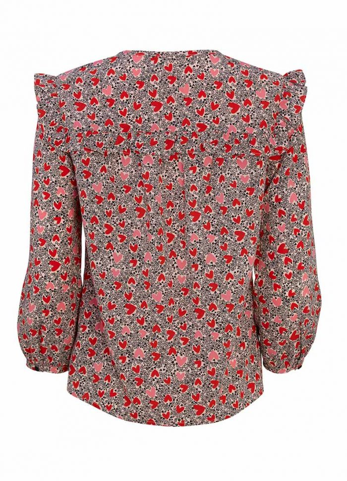 Laverne Ditsy Heart Frill Neck Blouse