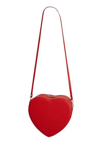 Red love heart bag with a detachable strap