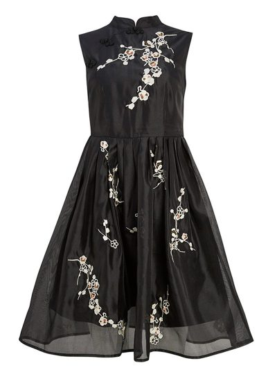 Black oriental inspired dress with white flower embroidery
