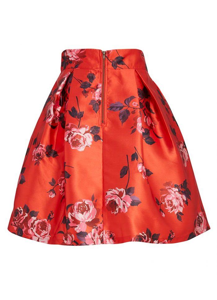 Matilda Red Floral Print Full Skirt
