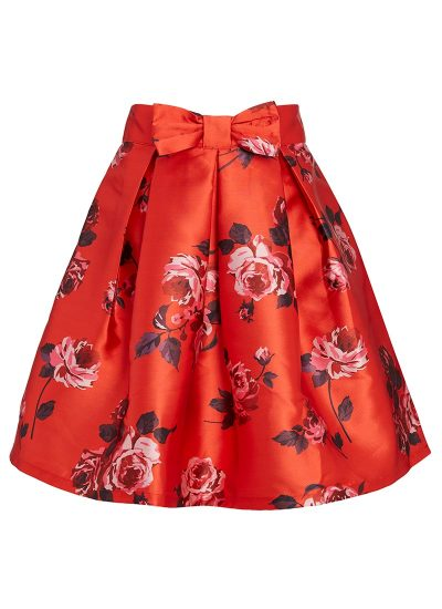 Red floral skirt with bow detail