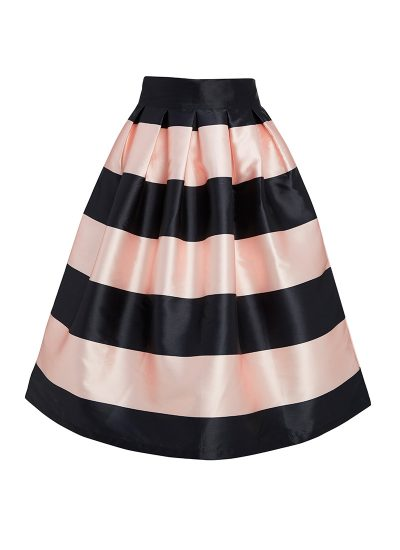 Black and pink striped full skirt