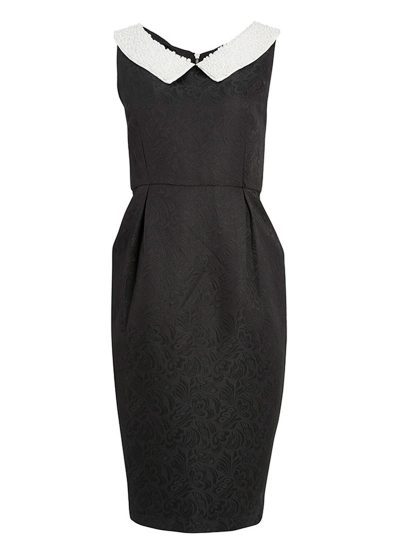Black jacquard dress with white pearl collar