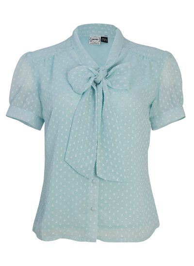 blue spotted shirt with pussy bow detail