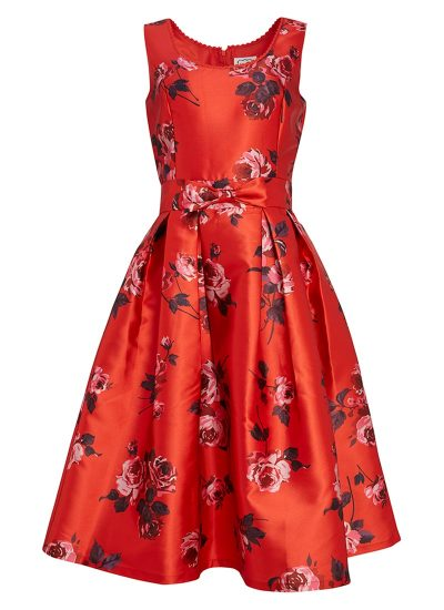 Red floral dress with bow detail